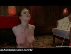 Busty tied redhead fucked and caned on the floor Thumb