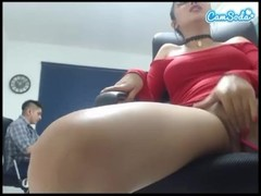 MARTINA hidden cam at work fingering herself until creamy squirt in RedDres Thumb