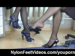 Lesbian nylon foot sex in the office Thumb