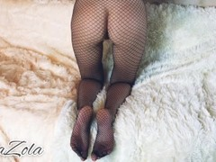Hot girl in mesh tights jumps on top and sucks a big dick Thumb