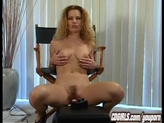 Sybian orgasm with Goldie Thumb