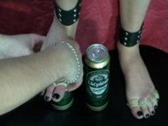 Foot torture beer  Footjob Thumb