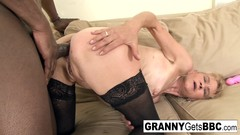 Old blonde gets a nice anal creampie from a BBC Thumb