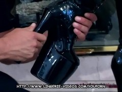 Brunette gives drooling blowjob in boots and latex Thumb